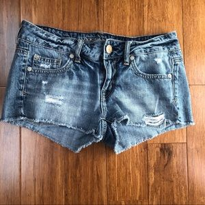 American Eagle Low Rise Cut Off Denim Short Shorts